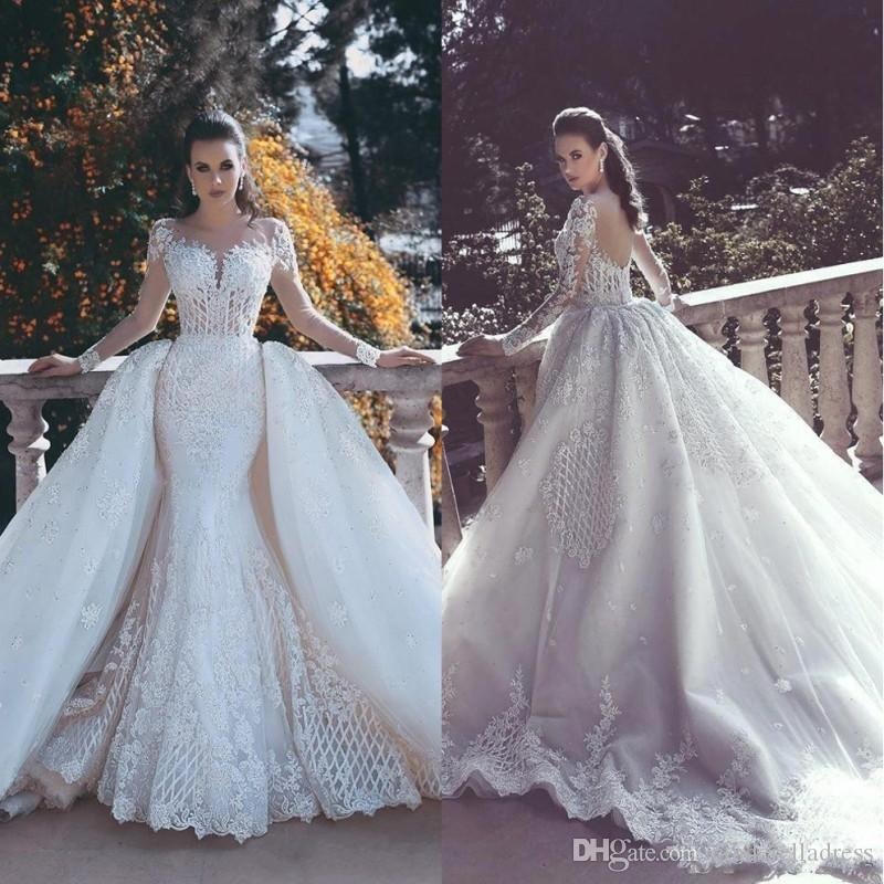 2018 Designer Backless Mermaid Lace Wedding Dresses With Detachable ...