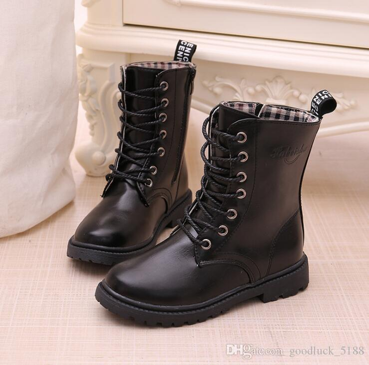 f713ec60c1a3f Boys Girls Lace Up Martin Boots 2018 Autumn Winter Waterproof Knight Single Boots  Warm Older Children Snow Boots Kids Sneakers Size 4 Girls Boots Kid ...