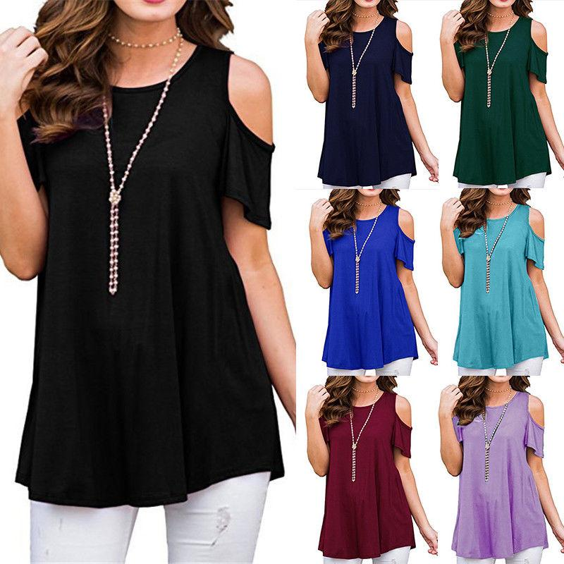 7d3a088701db44 2019 Womens Cold Shoulder T Shirt Summer Casual Ladies Loose Short Sleeve  Blouse Tee Shirts Tops Plus Size UK 6 20 From Erinzhang