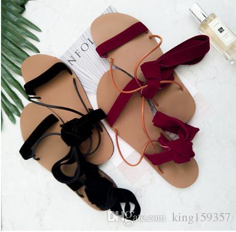 2df9904e4 2017 Luxury Brand Women Open Toe Sandals Flat Heel Cow Leather Peep ...