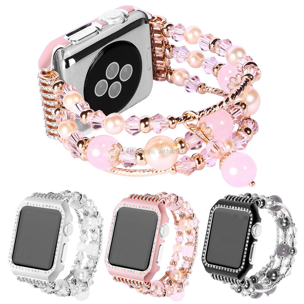 Strap with Frame For iWatch 1 2 3 Apple Watch Metal Women Jewelry Bracelet Agate Gemstone Replacement Wrist Band 38mm 42mm Girl Lady Gift