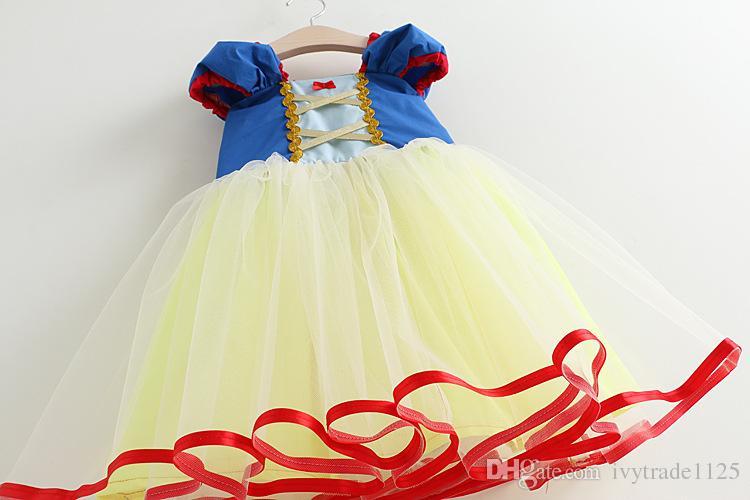 NOVOS chegadas Menina Roupas Menina Vestidos Crianças Boutique Roupas O Pescoço Branco Neve Princesa Meninas Manga Curta Vestidos 2 cores