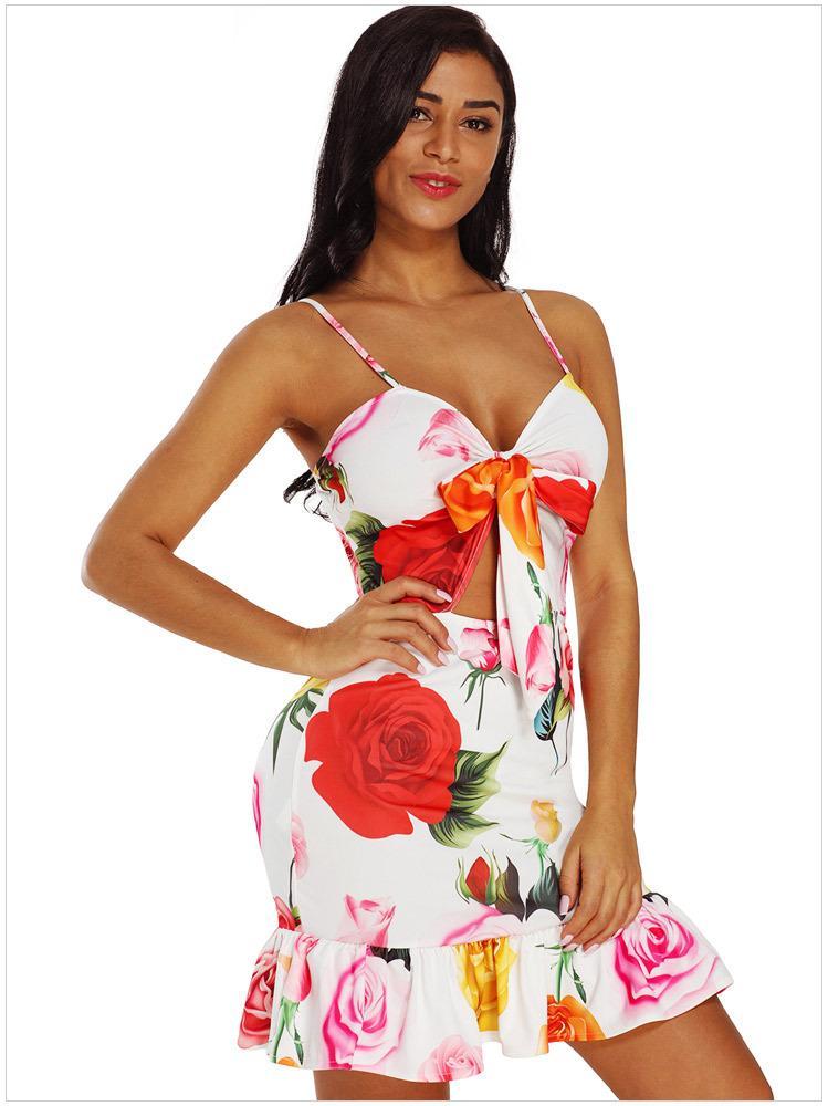 New 2018 Summer Party Dress Spaghetti Strap Red White Polka Dot Print Cut Out Frill Hem Mini Dress Short Vestidos