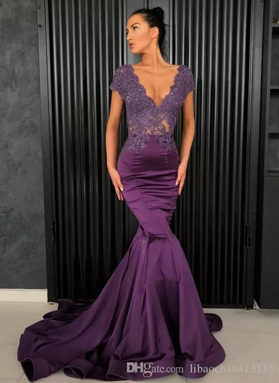 Purple Beaded Mermaid Lace Evening Dresses V Neck vestidos de fiesta See Through Back Prom Gowns Sweep Train Satin Plus Size Formal Dress