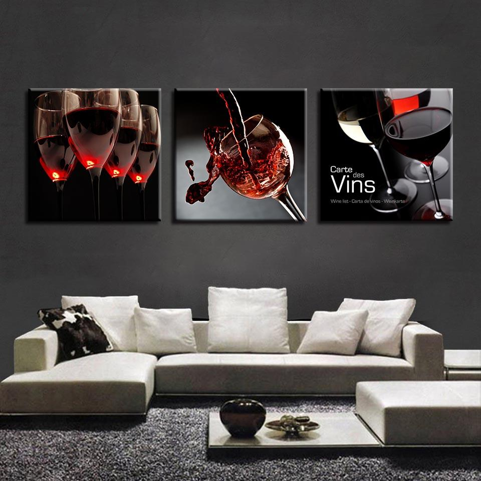 cbf5913b692 2019 Canvas Paintings Kitchen Restaurant Wall Art Red Wine Glass Pictures  HD Prints Cup Bottle Poster Home Decor Framework From Aliceer