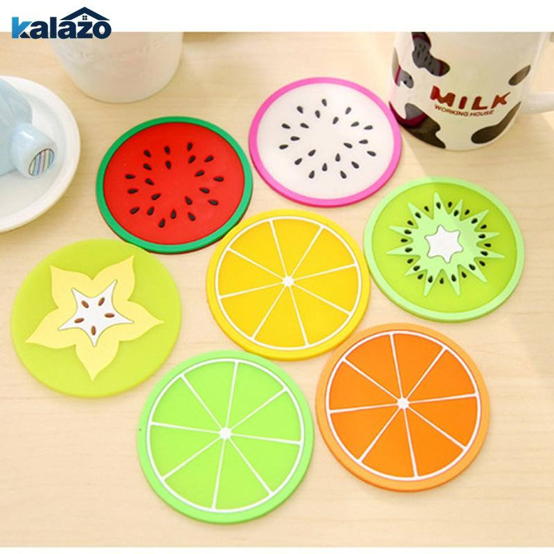 Hot Coaster Fruit Shape Silicone Cup Pad Slip Insulation Pad Cup Mat Hot Drink Holder