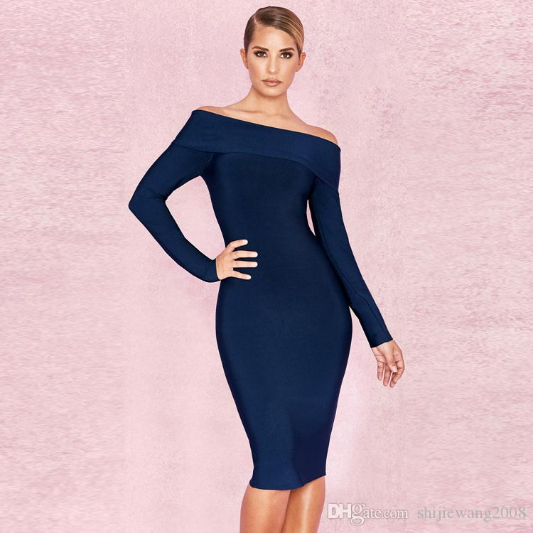 1dc9e60d9284 2019 HOT New Style Woman Blue Word Long Sleeves Bandage Dress Dress Evening,  Bandage Skirt, Banquet Dress, Wedding Dress From Shijiewang2008, ...