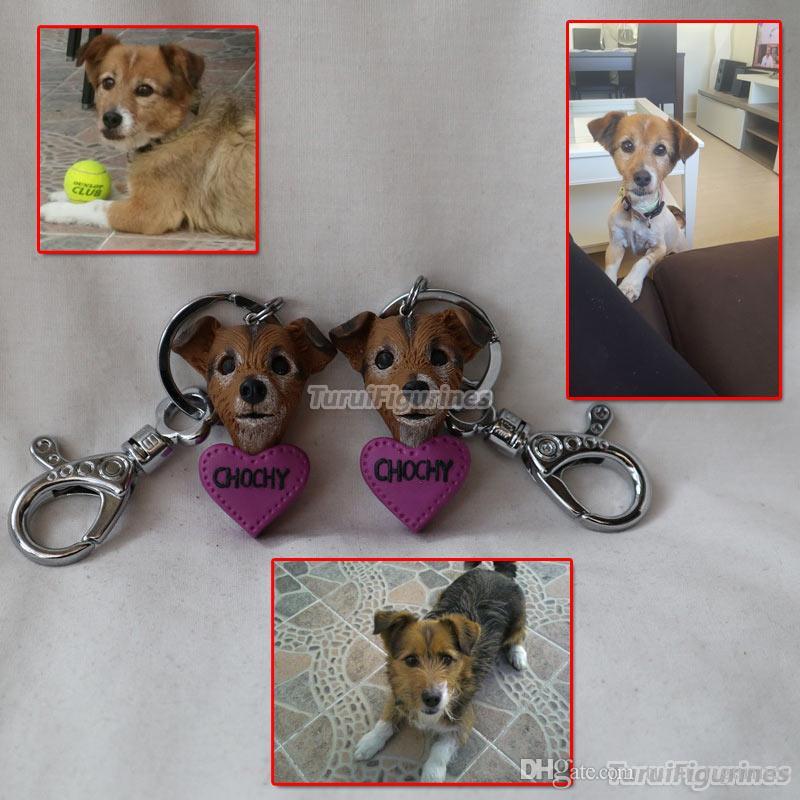 9eea276df9d9a Turui Figurines custom personalized keychain key chain keyring Custom dog  shape miniature sculpture gift for chrismas valentine's day gifts