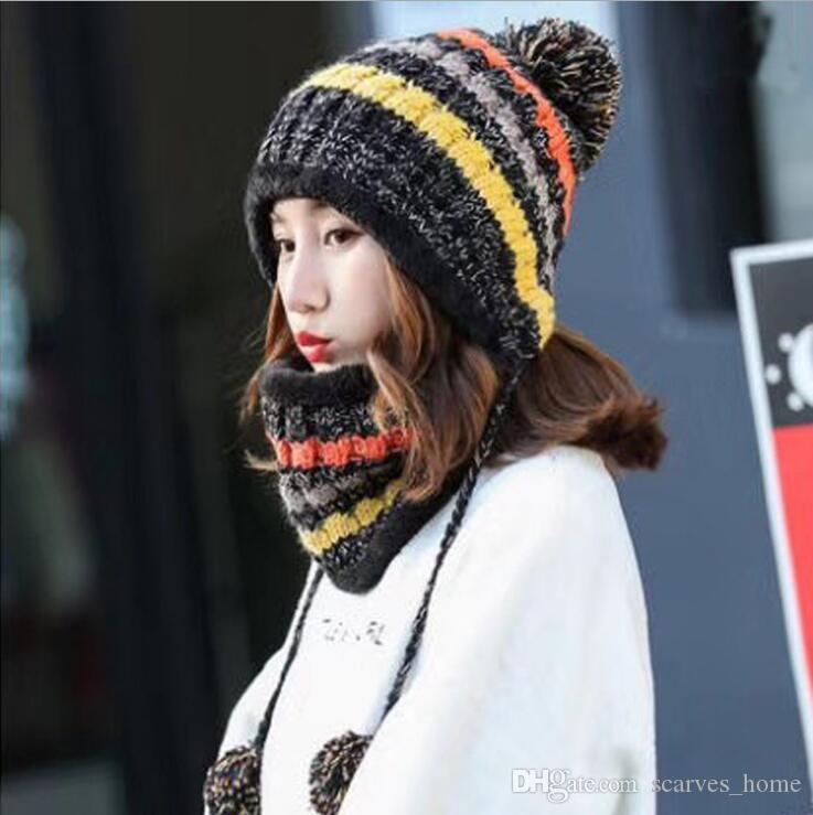 Winter Women S Hat Bib Set Knitted Warm Beanies With Three Pompom Ball  Female Balaclava Multi Functional Hat Scarf Set UK 2019 From Scarves home 02ea92a6dc7a
