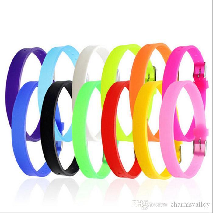10 unids 8 mm * 210 mm pulseras de silicona de color mixto pulseras accesorios de bricolaje joyería encajar 8 mm diapositivas encantos de diapositivas cuentas diapositivas encantos letras