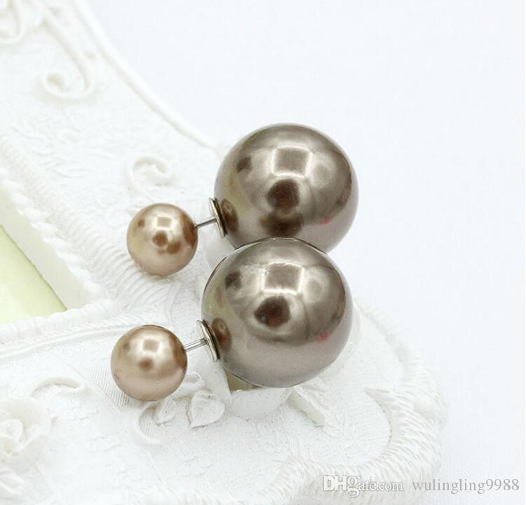 8MM/16MM Double Side Imitated Pearl Earrings Shining Bohemian Round 925 silver plated Stud Wedding Jewelry for Women girls