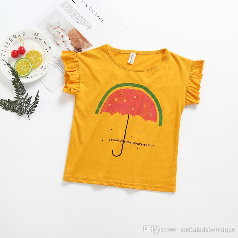New Style Europe and American Baby Girls T-shirt INS Hot Sales Cartoon Watermelon Pattern Short Sleeve Children T-shirt