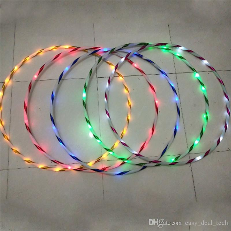 90cm LED Glow Hula Hoop Performance Hoop Sports Toys Loose Weight Kids Q0618