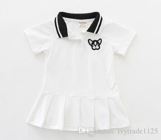 Recém-chegados meninas Crianças 100% Algodão de manga curta turn down collar ruffles dress causal verão meninas vestidos
