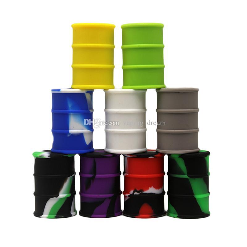 Conteneurs silicone 26ml silicone alimentaire antiadhésives Barrel Forme tambour Container Cire Vaporizer Dabber pot pour l'huile Rig verre Pyrex Bong