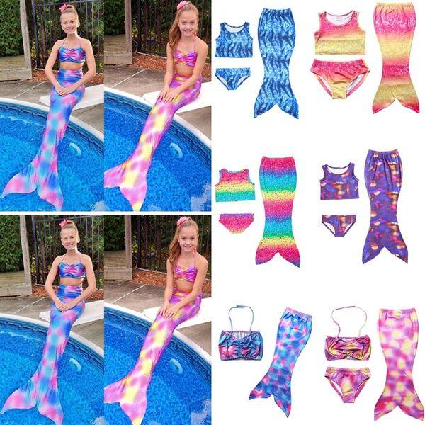 f1d4f53959 Cheap New Fashion Kid Girls Swimwear Children Mermaid Tail Princess Swimsuit  Dress Split Swimsuit Child Bikini Swimwear Bathing Suit