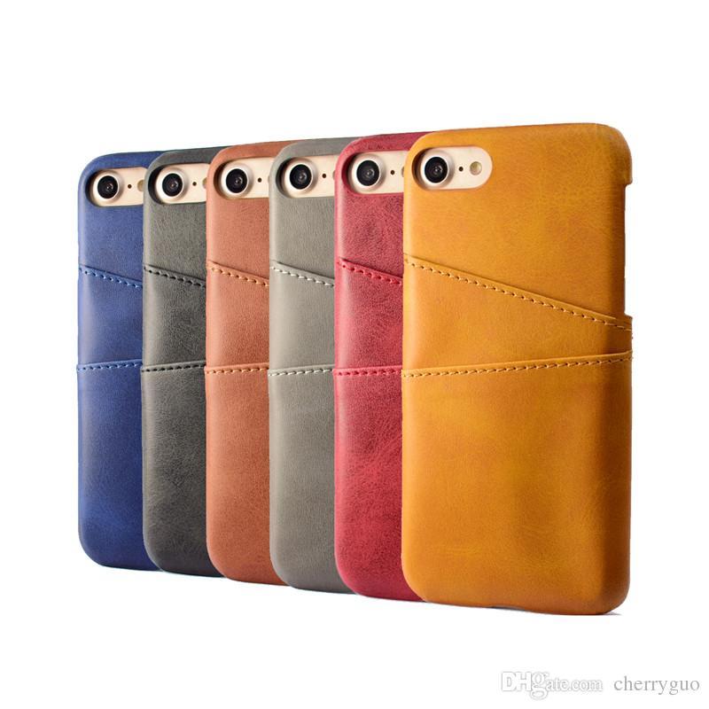 Telefono Shell iPhone 7 8, PU Custodia posteriore Custodia Vintage Card Slot
