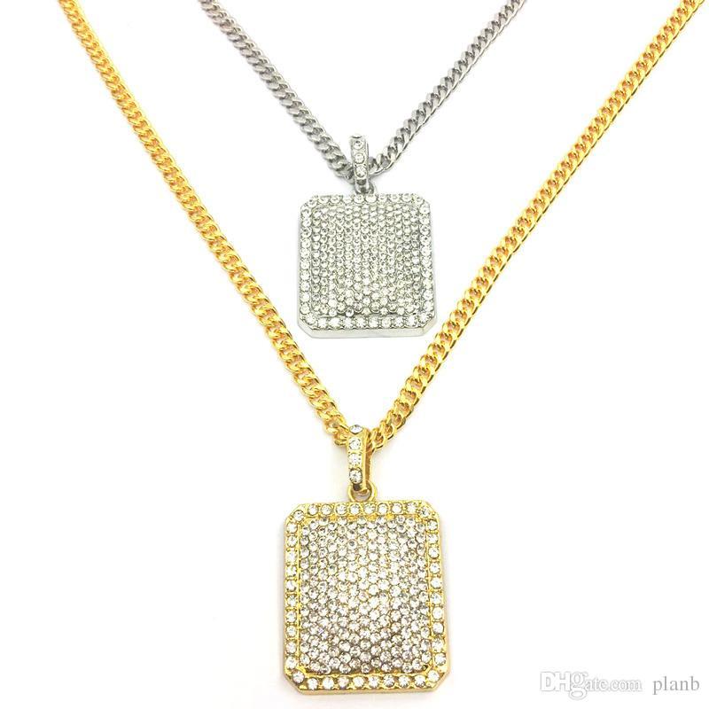 Collane del pendente del Rhinestone pieno dei monili di modo della catena di Hip Hop degli uomini Collane del cane della collana cubana riempita oro degli uomini dei monili dello zodiaco