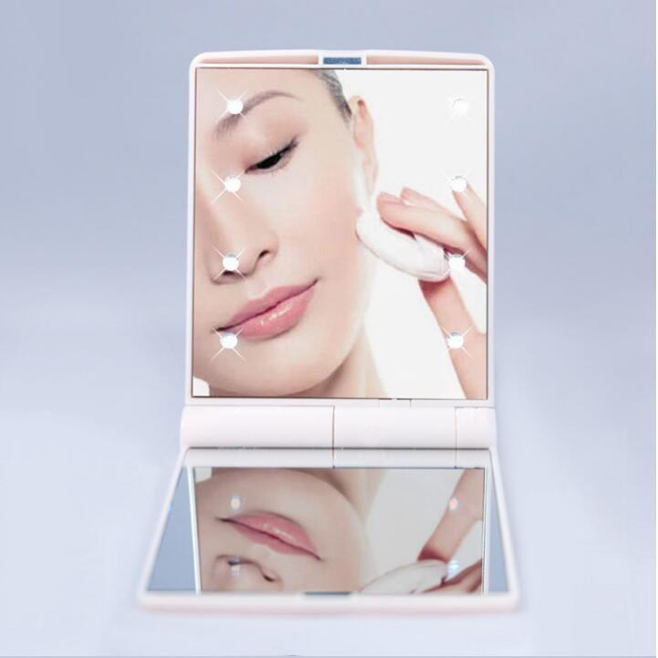 Леди макияж Косметические увеличительное Складной карманный макияж Led зеркало Портативный Chargeable зеркало тщеславия квадратный Shell Cosmetic