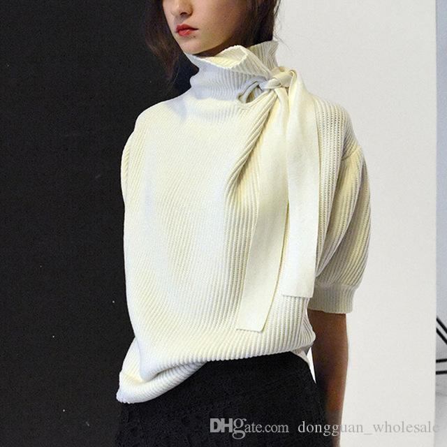 6f9dc6fa640a7 Autumn New Fashion Women Sweater with A Bow Turtleneck Lady Office ...