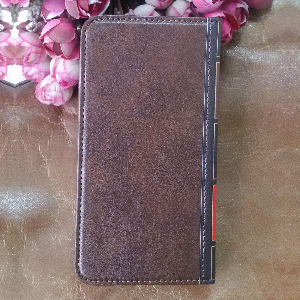 Flip leather phone case para iphone 7 8 plus capa carteira retro bíblia vintage livro bolsa de negócios