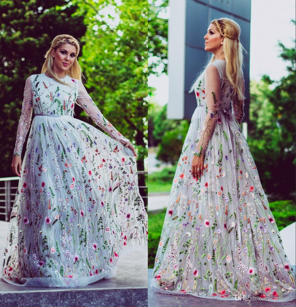 Discount Colorful Flower Wedding Dresses 2018 Illusion Long Sleeves ...