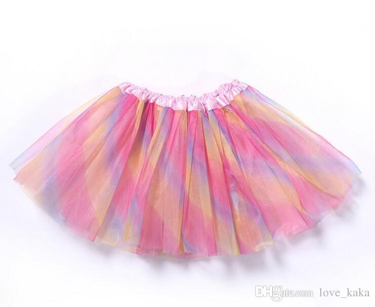 새로운 레인보우 컬러 아이 tutus 스커트 댄스 드레스 부드러운 투투 드레스 발레 스커트 3 레이어 어린이 pettiskirt 옷