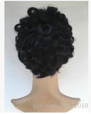 Xiu Zhi Mei Short Hair Afro Kinky Curly Women Wigs Natural Black Glueless Cosplay Fake Hair