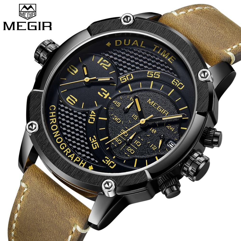 New MEGIR Mens Watches Top  Fashion Sport Quartz-Watch Leather Clock Men Dual Time Zone Wristwatch relogio masculino