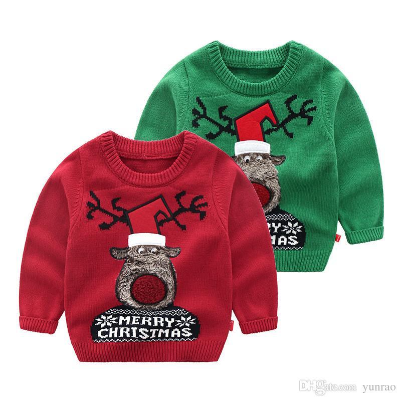 Compre Bebê Menino Roupas Feias Blusas De Natal Para Criança Menino  Crianças Roupas De Grife FELIZ NATAL Rena Manga Longa 5 Pçs   Lote De  Yunrao 4d75cd16cde7