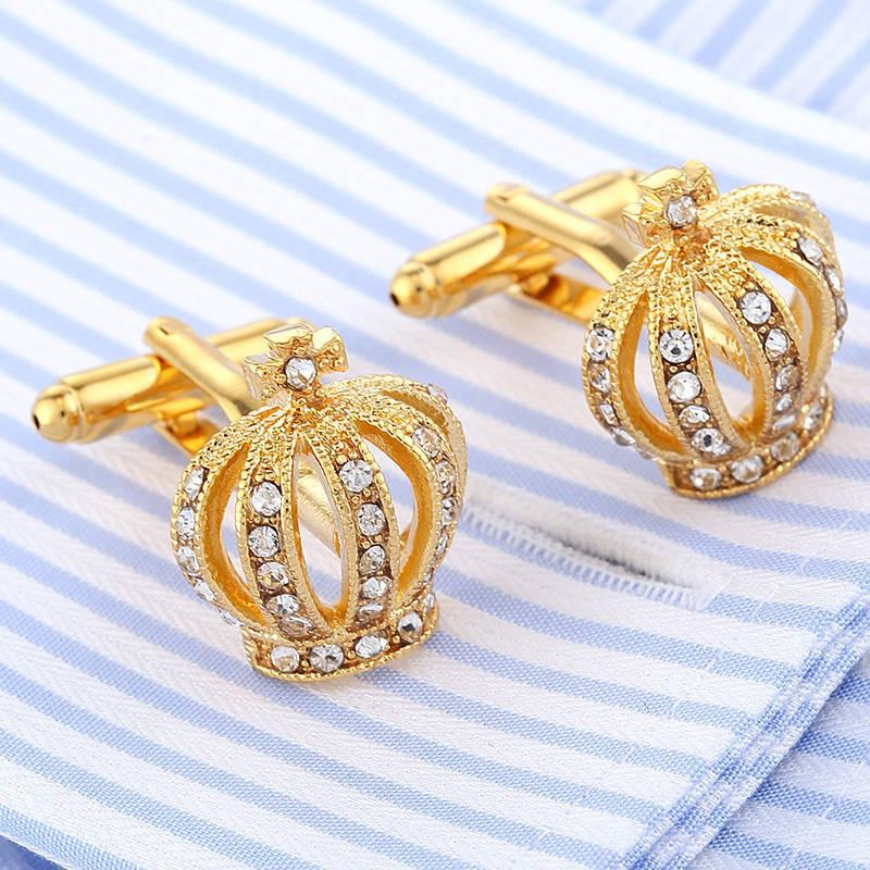 Mens Cufflinks Fathers Day Gifts Full Rhinestones Crown Shirt King Queen Wedding Groom Tuxedo Jewelry Fashion Classic French Crystal