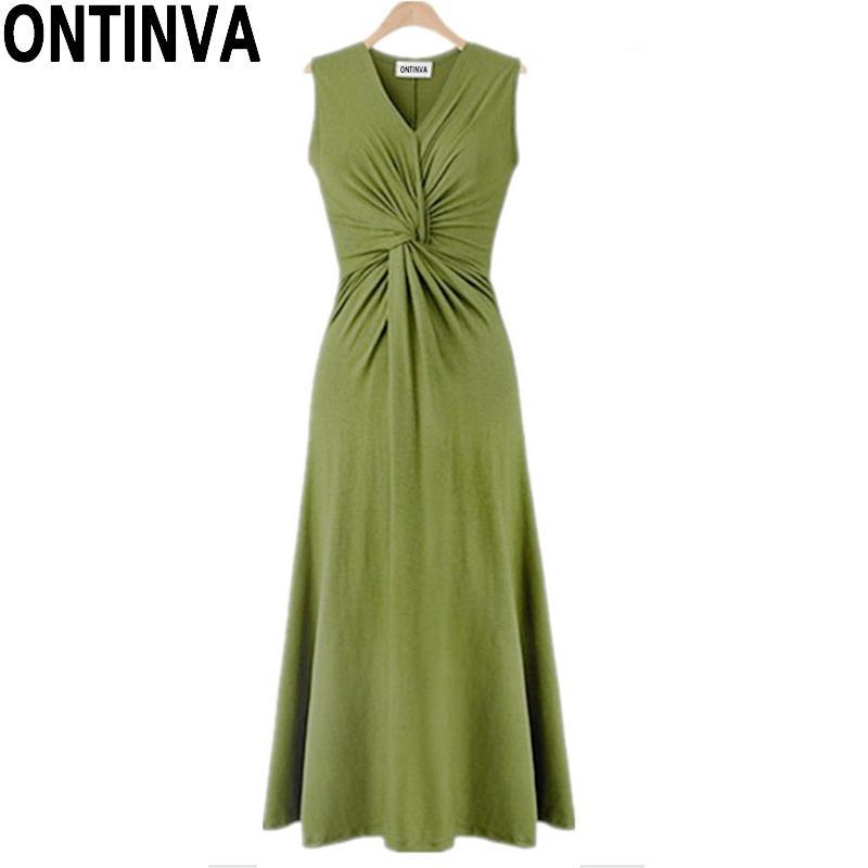 f593eefc8ca5d Satın Al XL 4XL Yaz Yeşil Maxi Elbise Bel Pileli Tasarım Siyah Haki Renk  Moda Kadın V Boyun Kolsuz Uzun Casual Yensiz, $29.03 | DHgate.Com'da