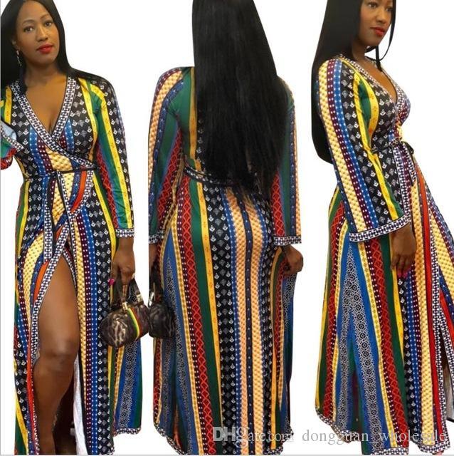 35d2ff95b21 Acheter 2019 Robes Africaines Pour Les Femmes Bazin Longue V Cou Imprimé  Vêtements Lâche Grand Afrique Vêtements Manches Courtes De  21.7 Du ...