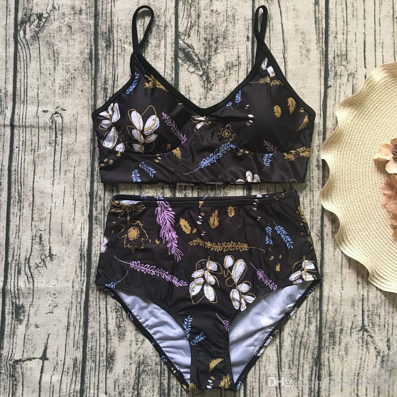 6367b58bbb 2019 Vintage Black Floral Print High Waisted Bikini Set 2018 Two Piece  Swimwear Bathing Suit For Women From Dressprom18, $16.49 | DHgate.Com