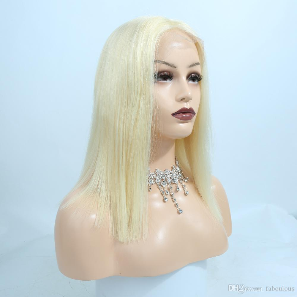 613 Blonde Bob Wig Short Vrigin Brazilian Human Hair Bob Lace Front Wig With Baby Hair Translate Lace For Black Women