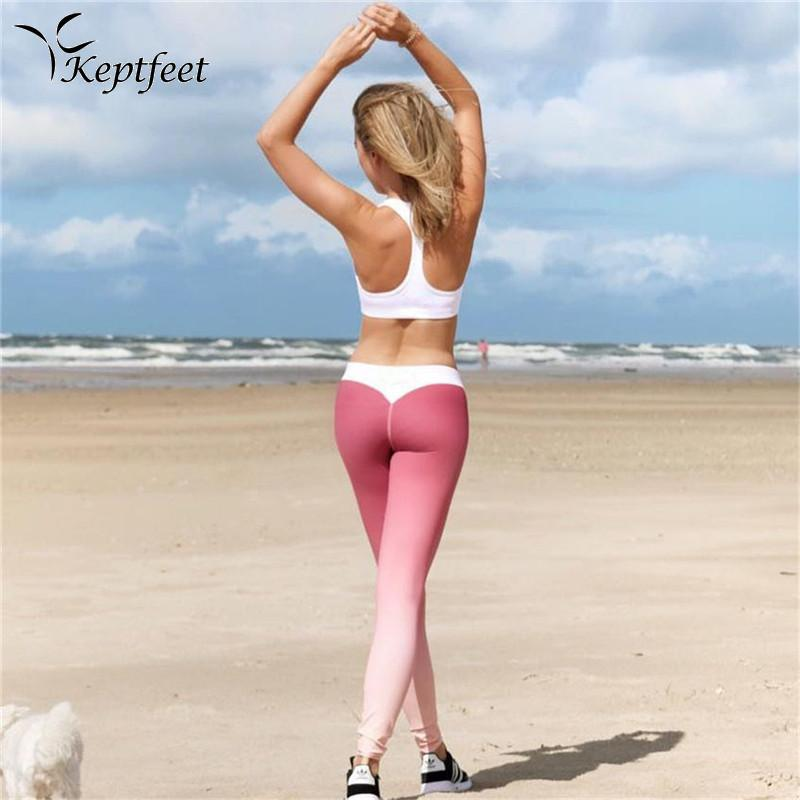 076aee1cf8b62 2019 Beautiful Sports Yoga Pants High Waist Breathable Gradient Color Gym  Leggings Women Slim Running Fitness Pants From Carlt, $31.6 | DHgate.Com