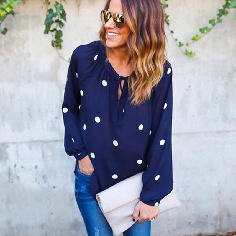 f209a1ffd96 2019 Dark Blue Women Blouse Shirt Summer Spring Long Sleeve Slim Clothes O  Neck Dot Print Bohemian Blouses Ladies Tops Shirt Blusas From Fafachai05