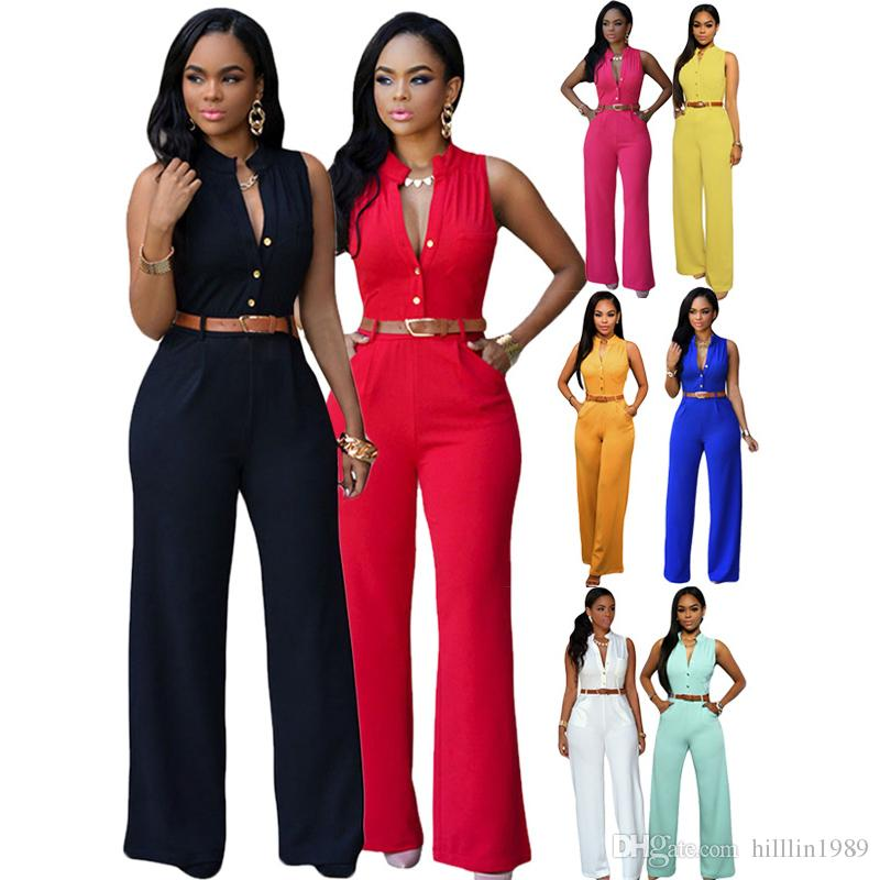 18a903d843 Plus Size Fashion Women Jumpsuit V-neck Large Size African Rompers  Sleeveless Slim Fit Wide Leg Casual Clothing