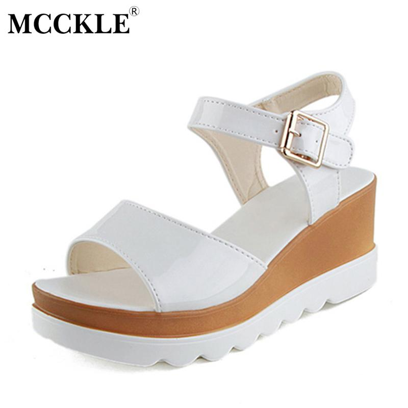 27ee6853c81 MCCKLE Women Shoes Flat Platform Sandals Gladiator Patent Leather Sandals  Thick Bottom Casual Shoes Woman Wedges Sandals