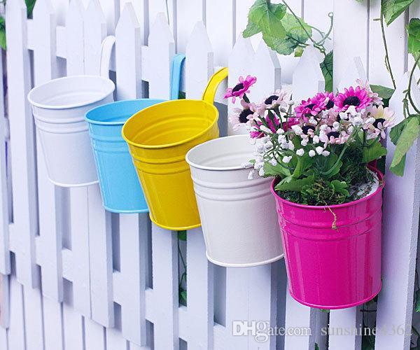 2018 Gardening Pot Plant Colorful Metal Hanging Flower Pot Plant Planter For Balcony Pots Garden Home Decor Garden Pots
