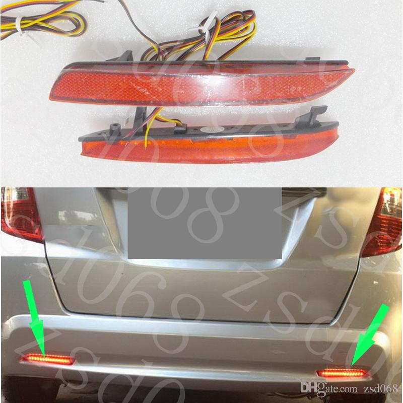 2x Auto LED Car styling Red Rear Bumper Reflector Light Fog Parking Warning Brake Tail Lamp for HONDA FIT JAZZ 2011~2013