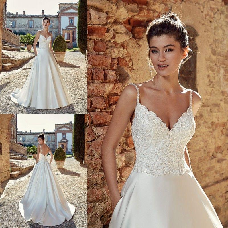 931a0f8e1f Discount Eddy K Spaghetti Straps V Neck Wedding Dress Lace Appliques  Backless Satin Wedding Dresses Bridal Gowns Custom Made On Sale Wedding  Dresses Satin A ...