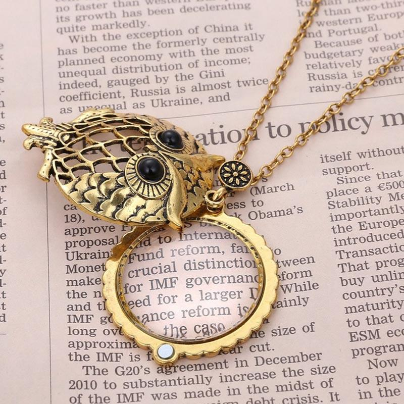 Retro Tree of Life Owl Magnifying Glass Pendant Necklace Lockets Chain Women Fashion Jewelry Drop Shipping