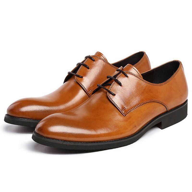 e40a5246d1 Basic Platform Formal Man Bridal Dress Office Shoes Genuine Leather Wedding  Oxfords Brand Round Toe Derby Men's Footwear UH36