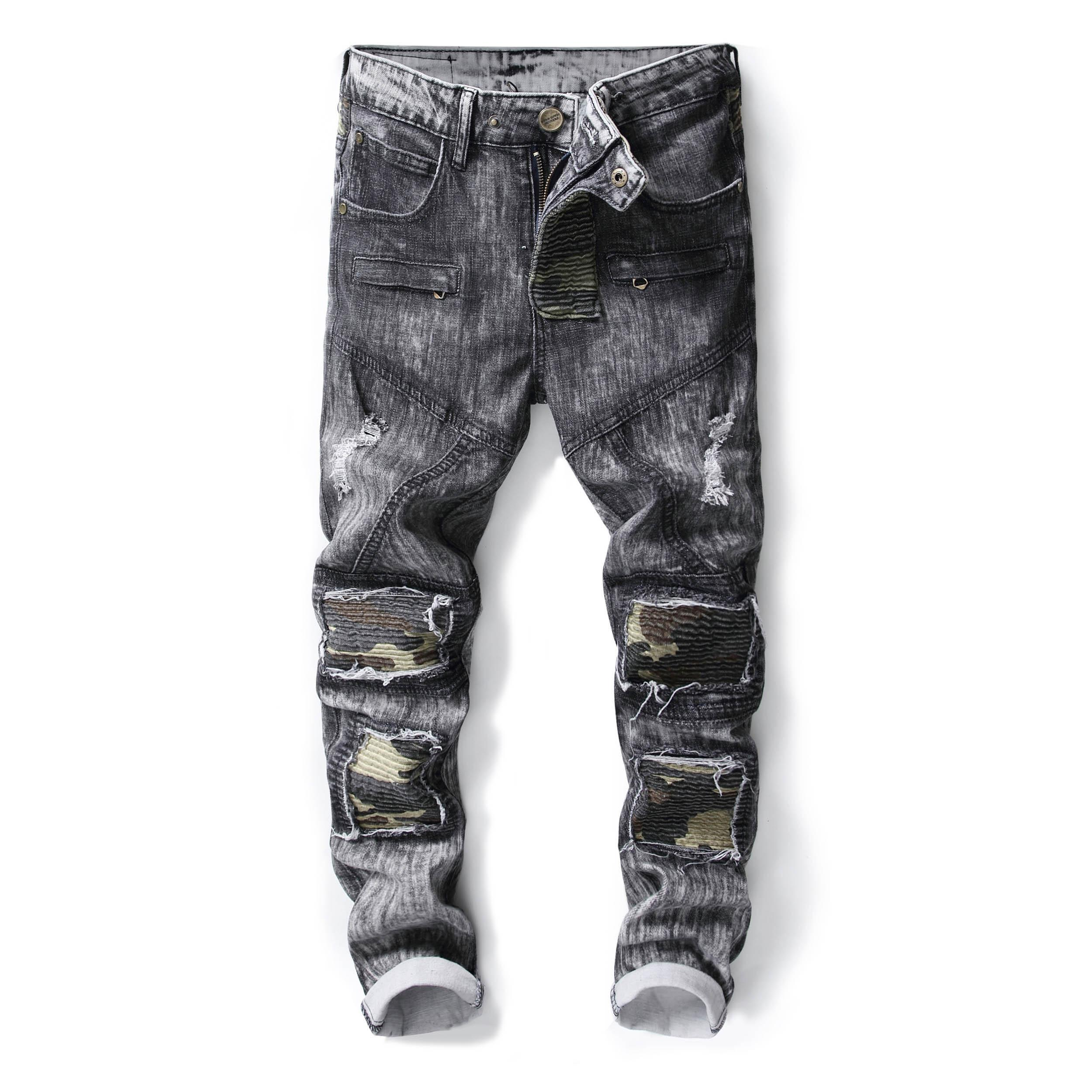 2019 Men Snow Wash Gray Army Camo Patched Jeans Long Pants Fashion Cool  Trendy Washed Color From Duixinju 233d1494b