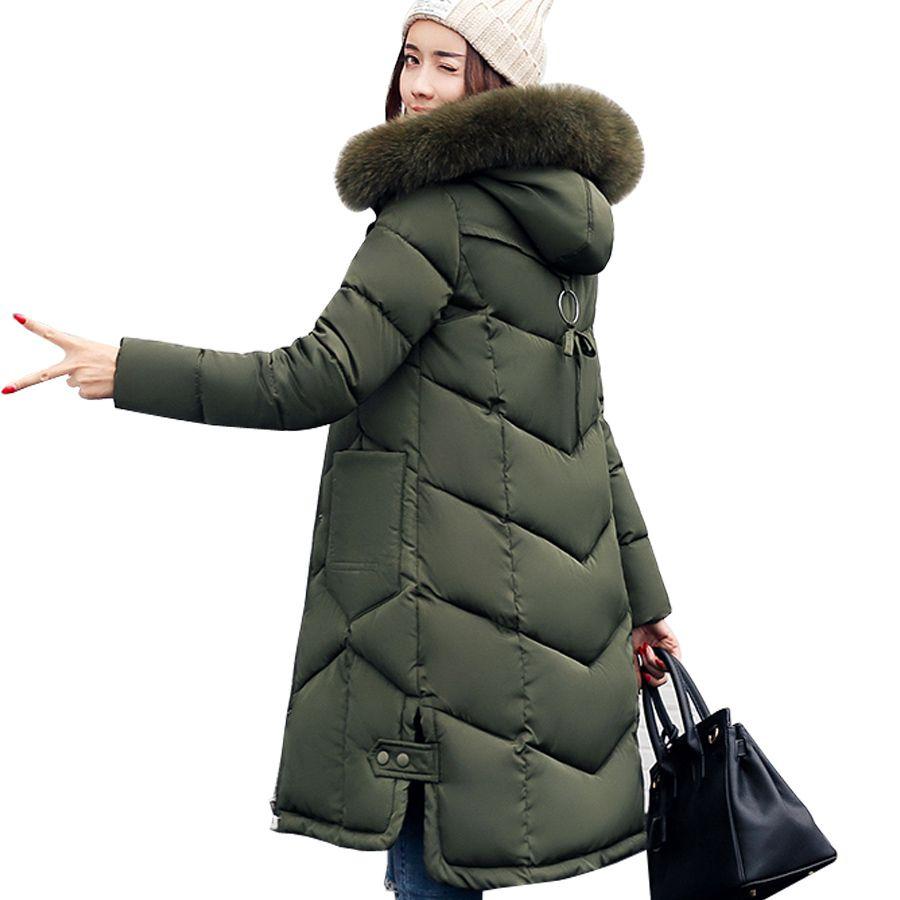 3cddb203c4e5 2019 Women Jackets 2018 Fur Hooded Jacket For Women Padded Cotton Down Winter  Coat Women Long Parka Womens Coats Clothing Plus Size C18110601 From  Shen8407, ...
