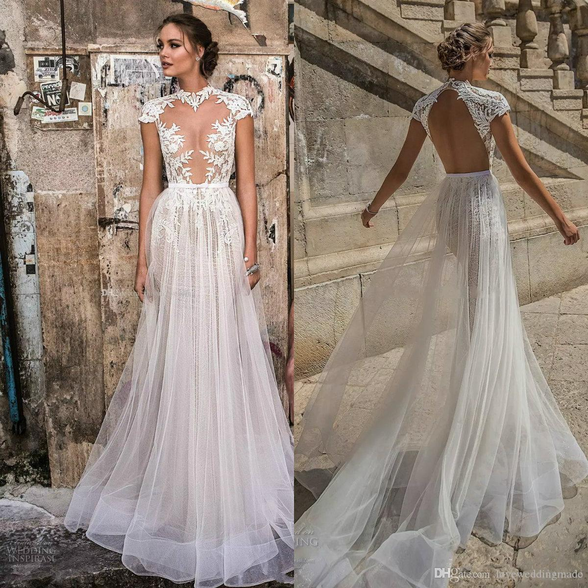 Discount 2018 Berta Modern Lace Tulle Beach Country Wedding Gowns See Through Cap Sleeves High Neck Open Back Bridal Gown Dress Es A Line: See Through Country Wedding Dresses At Reisefeber.org
