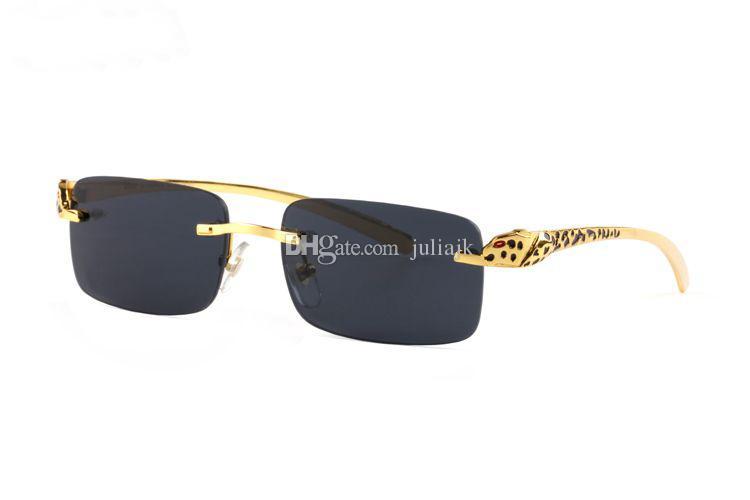 뜨거운 판매 브랜드 Frameless 금속 선글라스 남자 패션 고품질 표범 장식 선글라스 브라운 블랙 클리어 렌즈 무료 배송