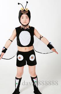 2017 Nuovo stile bambini Cosplay Cricket insetto animale eseguire paillettes abbigliamento ragazze e ragazzo danza vestiti congiunti breve stile