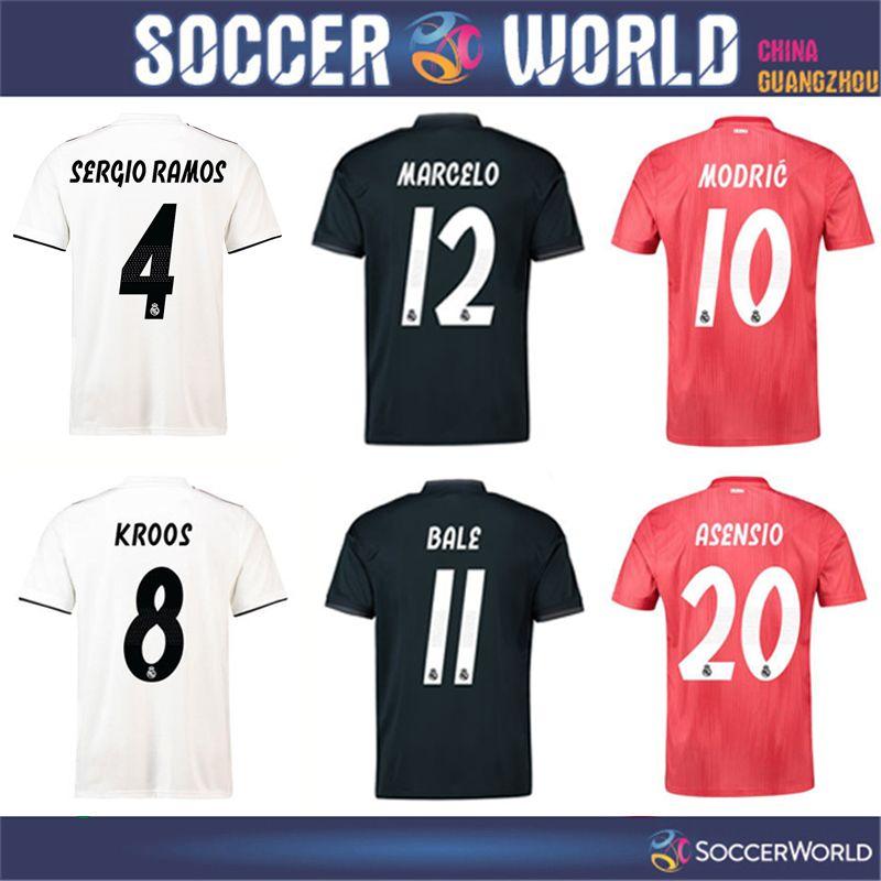 f23ff00ef 2018 2019 Top Qulaity Real Madrid Soccer Jersey SERGIO RAMOS KROOS ...